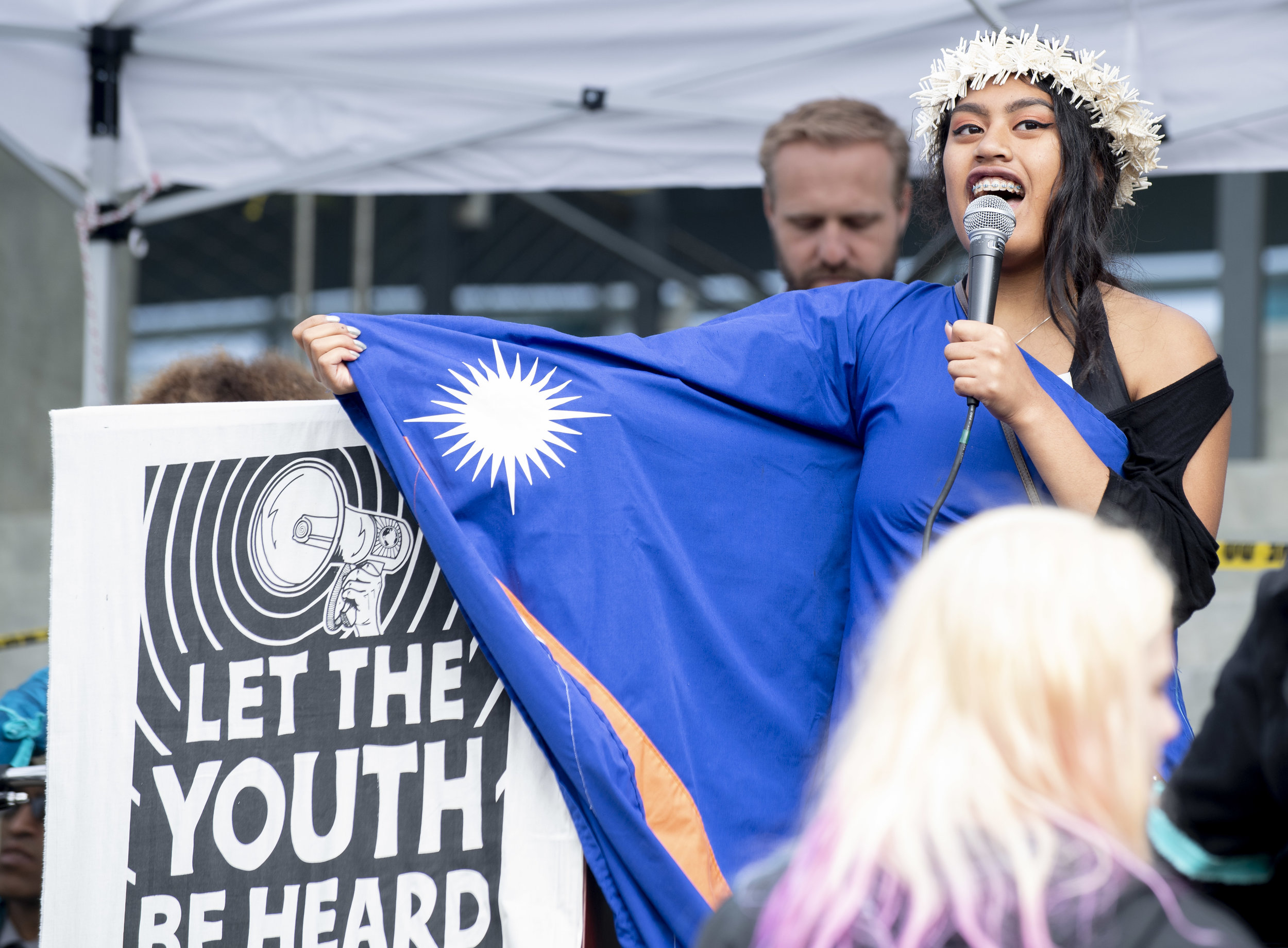 Juliana v. United States  plaintiff Miko, 17, at the rally in Eugene, Oregon, on October 29, 2019 - the day that should have been the first in her trial against the federal government.