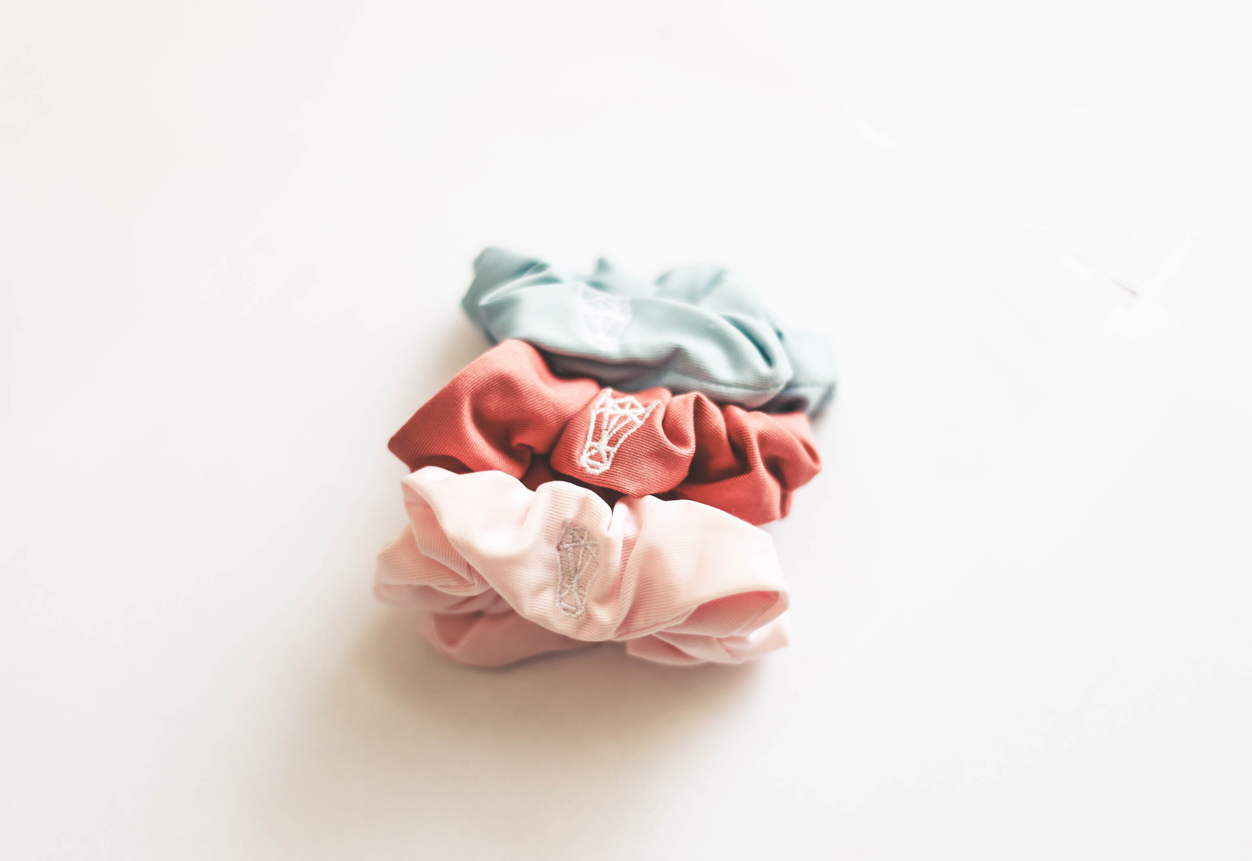 Set of Three scrunchies in Sky Blue, Dusty Rose, and Champagne Pink