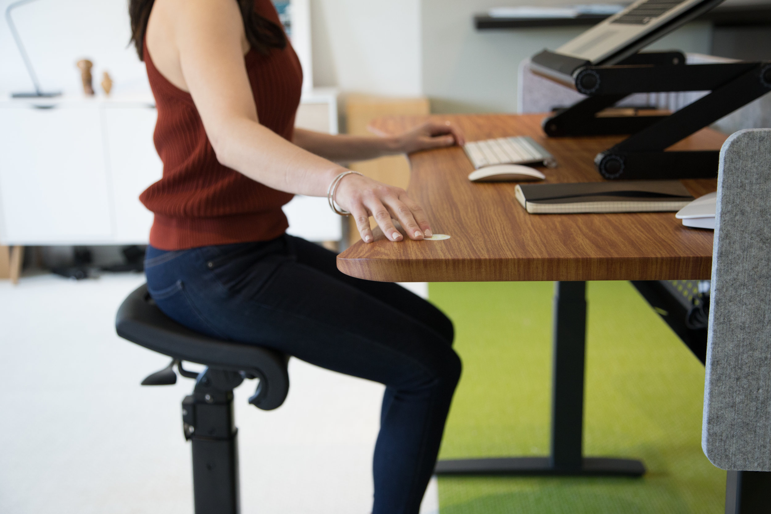 With the seat lowered even more — the chair supports a comfortable stool height posture, with knees below the hips and body in line