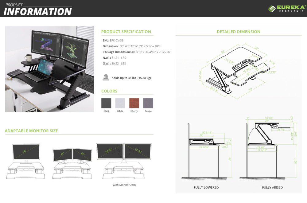standing desk converter details