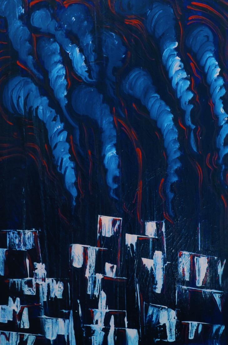 Study 3- Depression     Night     Acrylic on Canvas    24x36    2017       John:  And it was night.