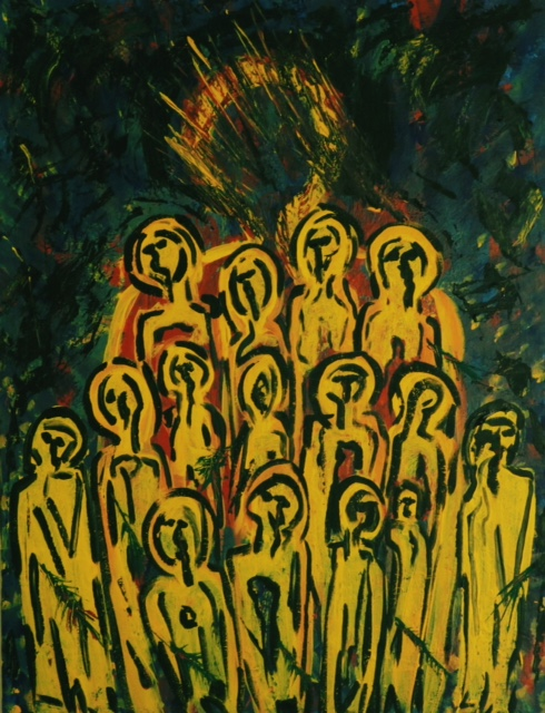 Study 5- Acceptance     They Saw What Had Happened     Acrylic on Canvas    20x24    2017      Luke:  When the Roman officer overseeing the execution saw what had happened, he worshiped God and said,   Surely this man was innocent.   And when all the crowd that came to see the crucifixion saw what had happened, they went home in deep sorrow.