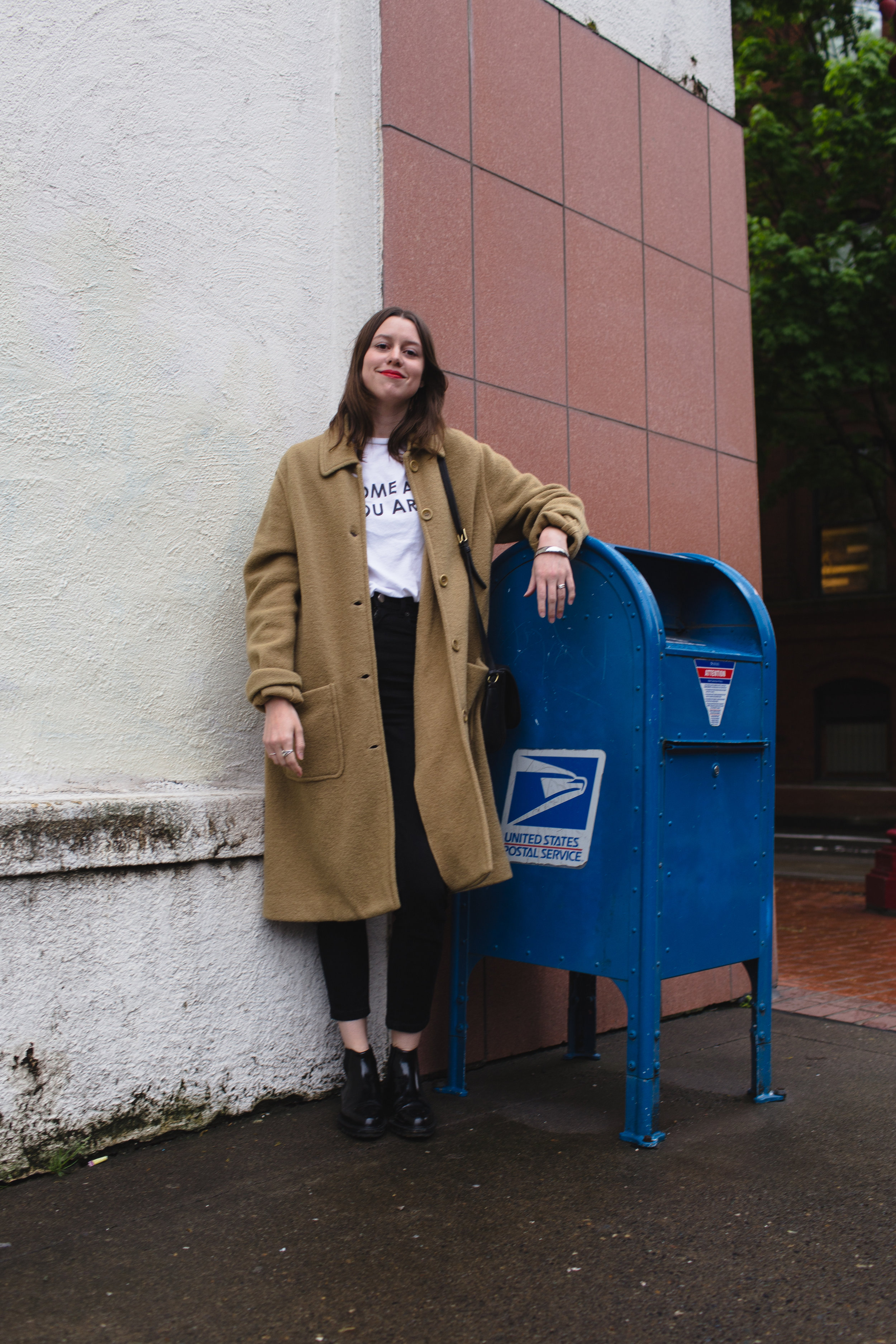 coat by jcrew, but found at goodwill, tee from wildfang, jeans from asos, boots by creatures of comfort.i love you.