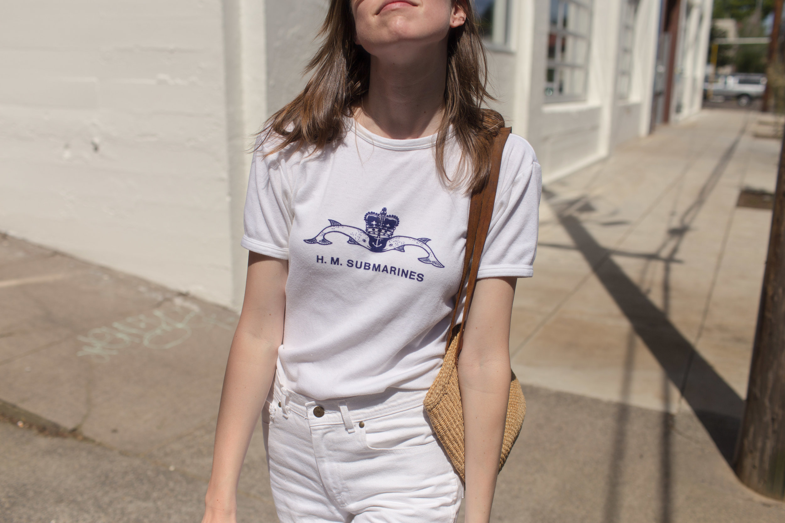tee:thrifted in seattle, white jeans: thrifted at artifact, portland, bag: from the portland flea, sandals: madewell, sunnies: céline, yay.