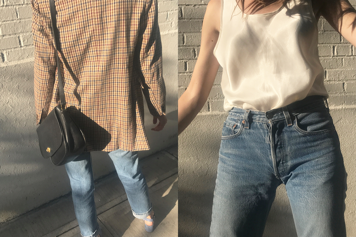 shoes by intentionally ________, jeans by levis, top, jacket, and purse thrifted, glasses from the frankie shop