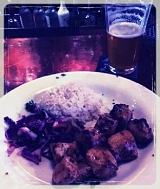 Chicken, Rice, Red Cabbage, and an IPA
