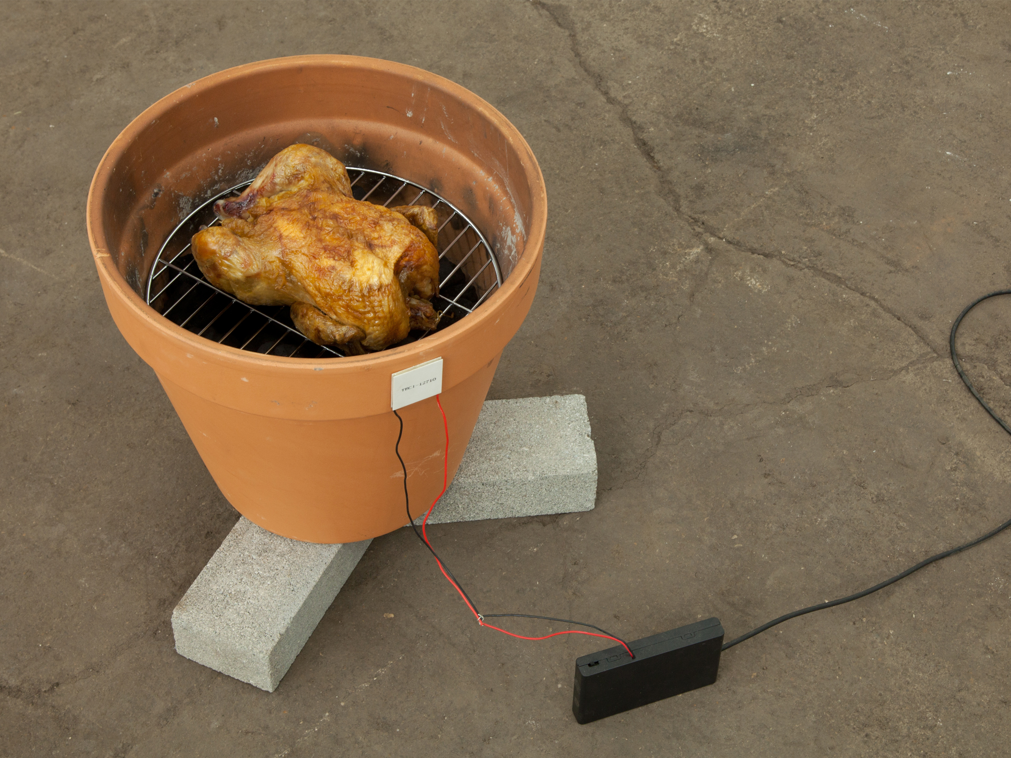 """Meat Smoker OR Pet Cremation Chamber and Thermoelectric Conversion Phone Charger from Meat Heat    14""""x 14""""x 12""""   Terra Cotta Pot, Aluminum Grill, Heat Converter"""