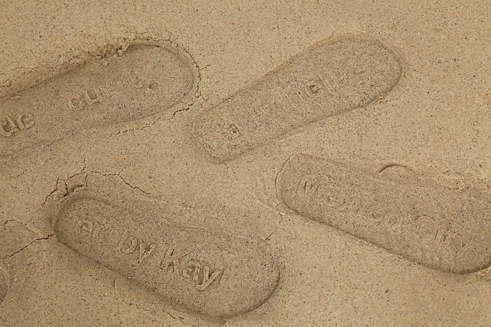 Detail of  Lean In To Walking: Customizable Resume Sand Impression Sandals