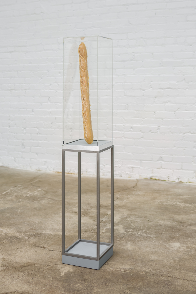 "Egan Frantz  Baguette Sculpture  acrylic, aluminum, epoxy resin, breadcrumbs, mdf and hardware  9"" X 9"" X 51"" 2012"