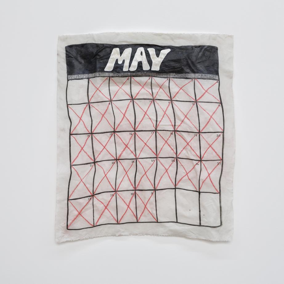 """May  fabric, adhesive 24"""" X 27"""" 2017"""
