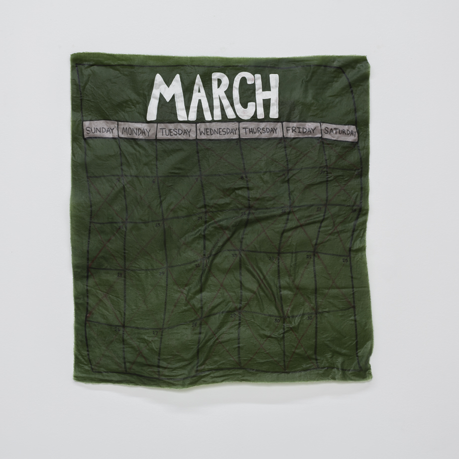 """March  fabric, adhesive 26"""" X 28"""" 2017"""