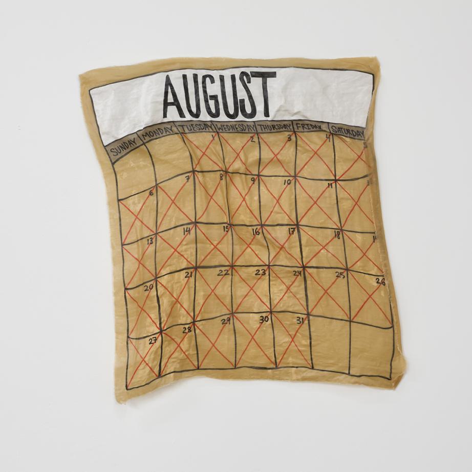 "August  fabric, adhesive 27"" X 29"" 2017"