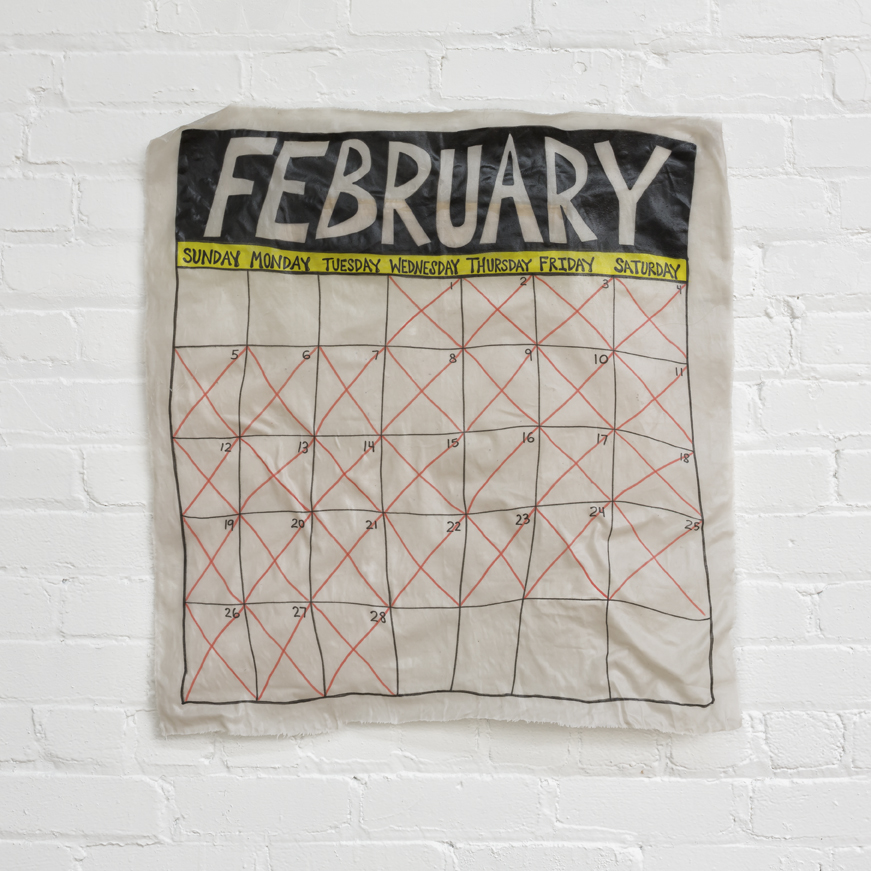 "February  fabric, adhesive 27"" X 28"" 2017"