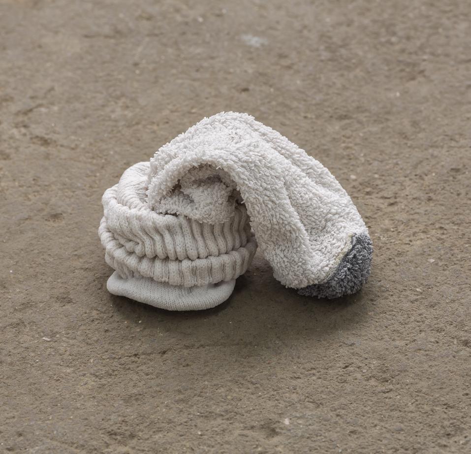 "no title (cock sock)  fabric, adhesive 5"" X 3.5"" X 3"" 2017"