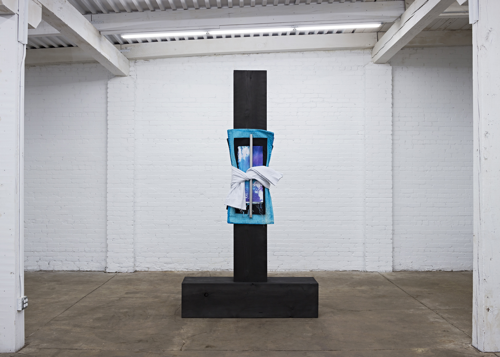 """Patrick Hill  Untitled (bundle)  wood, dye, fabric, polished stainless steel 2017 108"""" x 15"""" x 59"""""""