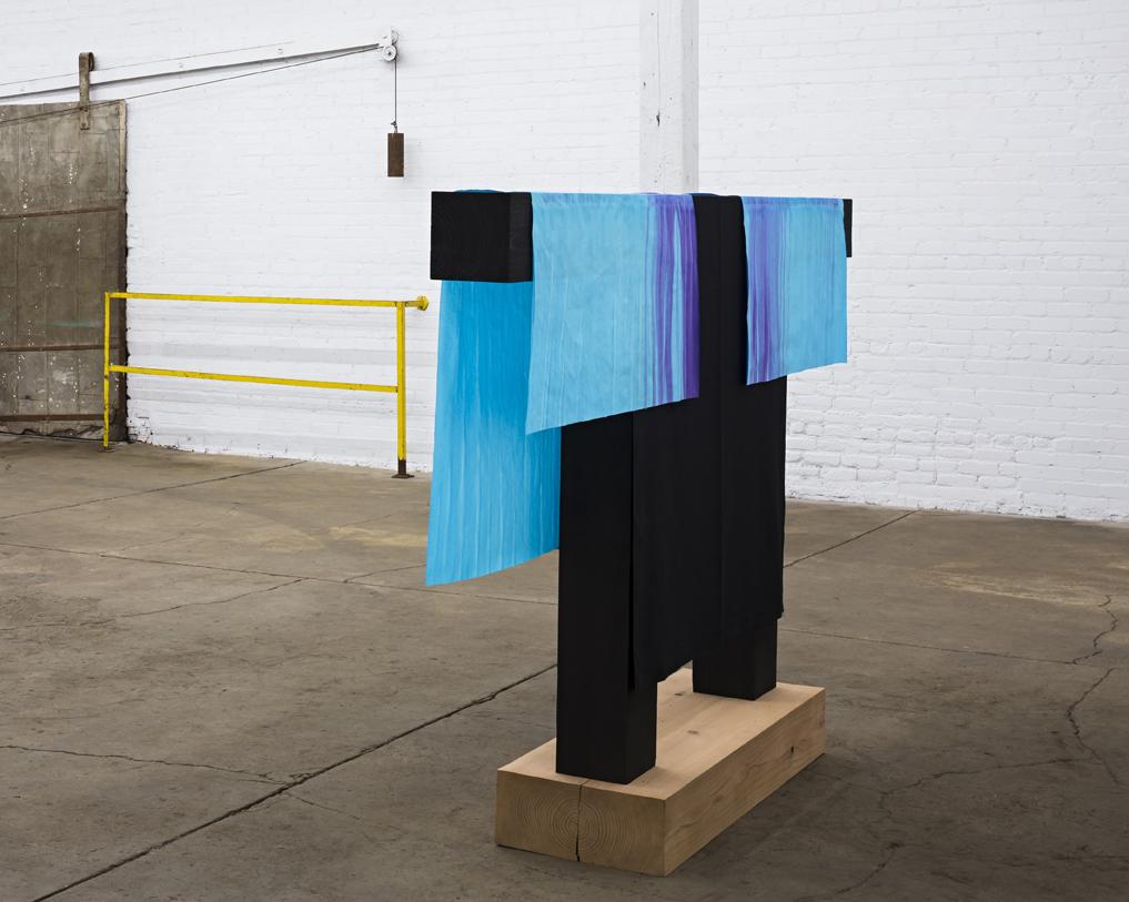 """Patrick Hill  Untitled (gateway)  rice paper, fabric, wood, dye 2017 63"""" x 96"""" x 17"""""""