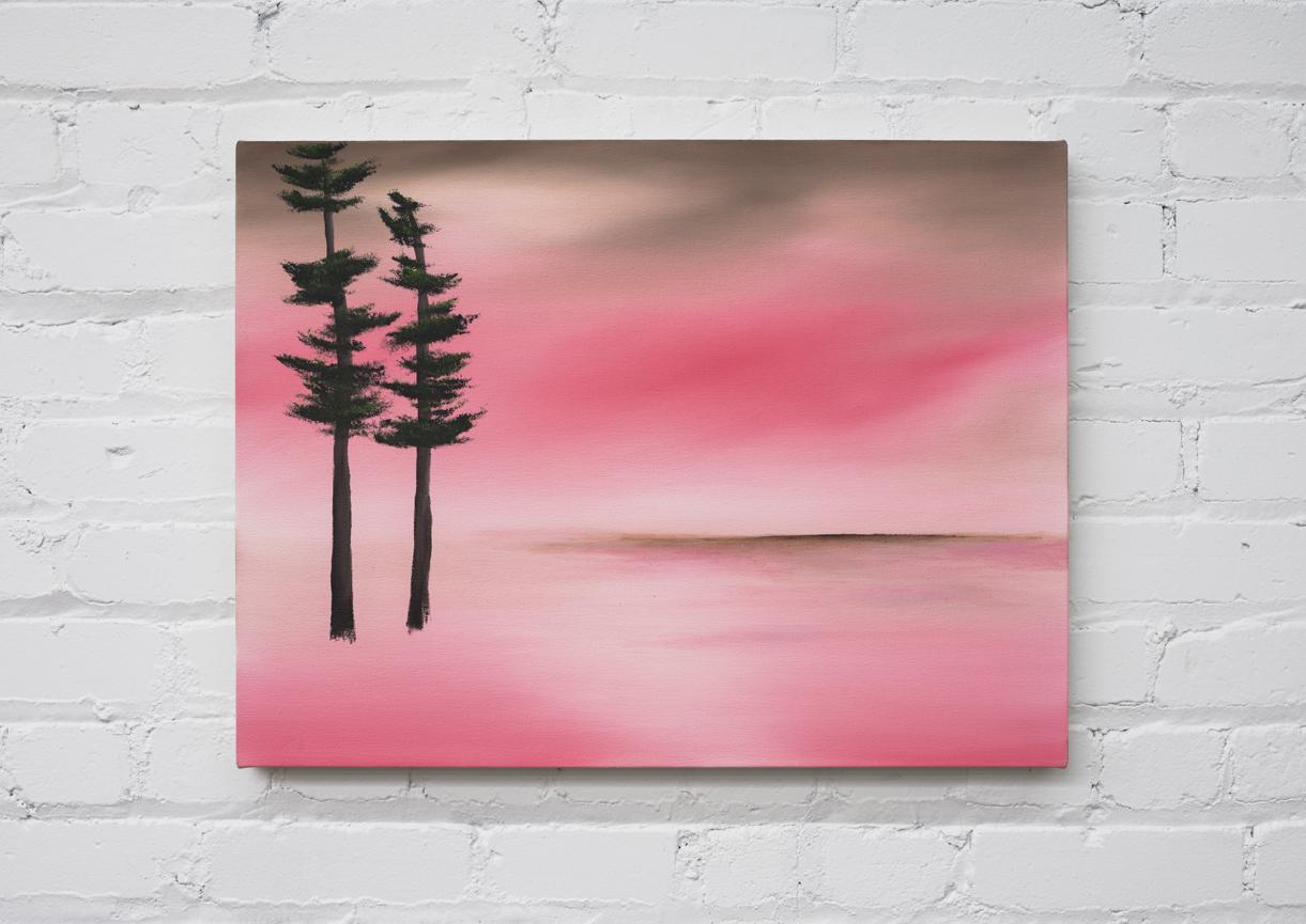 "Brendan Lynch  Lovers (trees)  oil on canvas 2017 6"" x 24"""