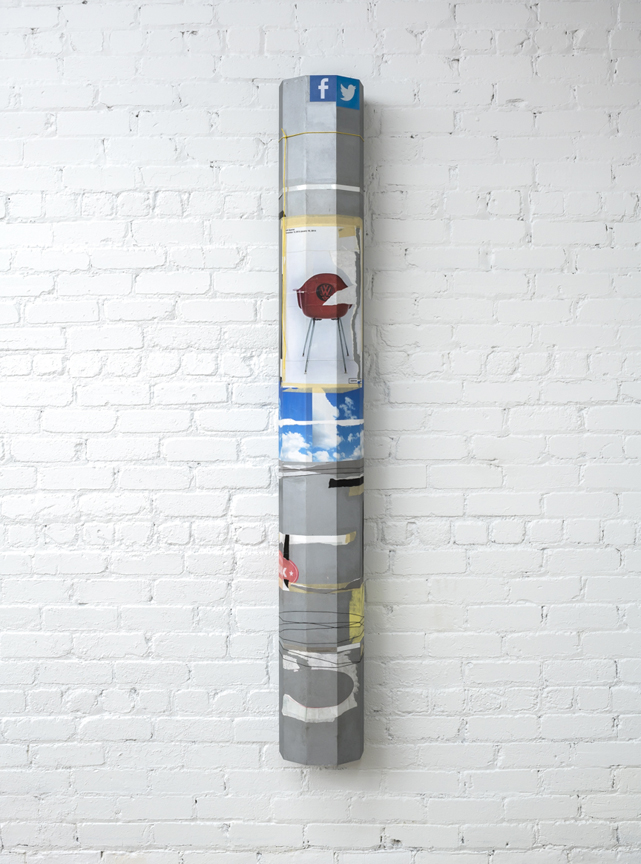 "Michael St. John  TBD (Lampost)  collage, acrylic polymer on MDF 2016 72"" x 10"" x 10"""