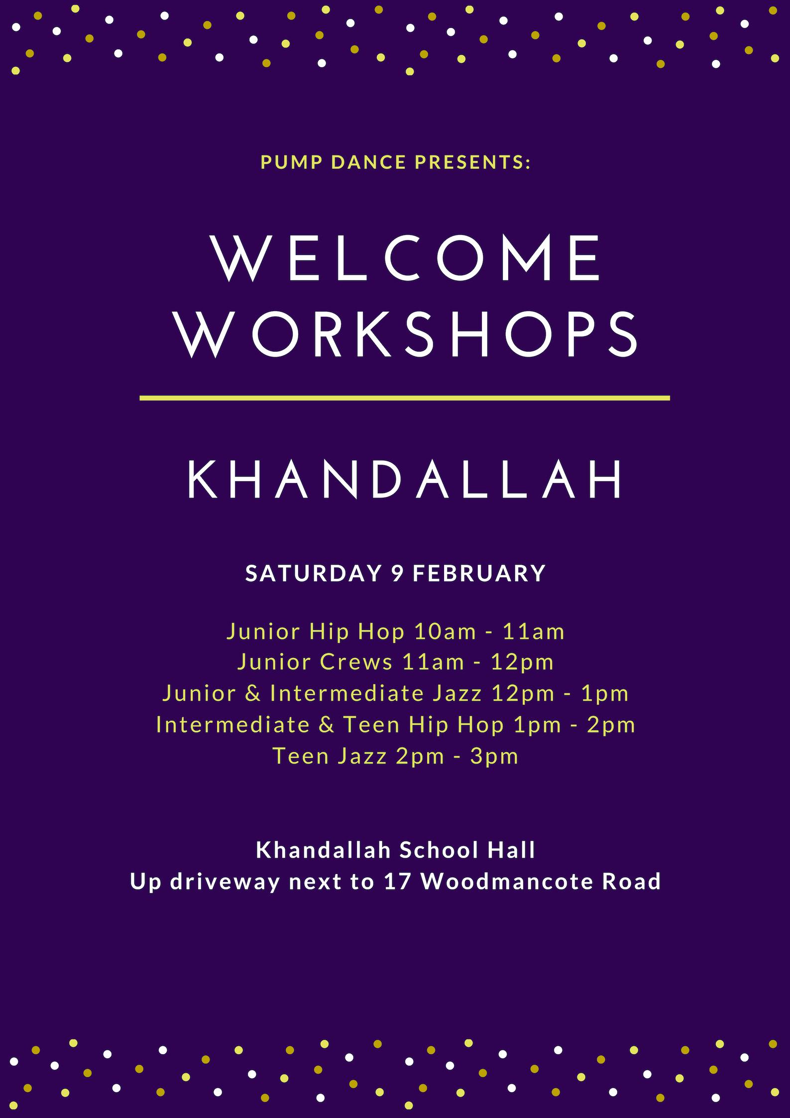 Pump Dance Khandallah Welcome Workshops 2019