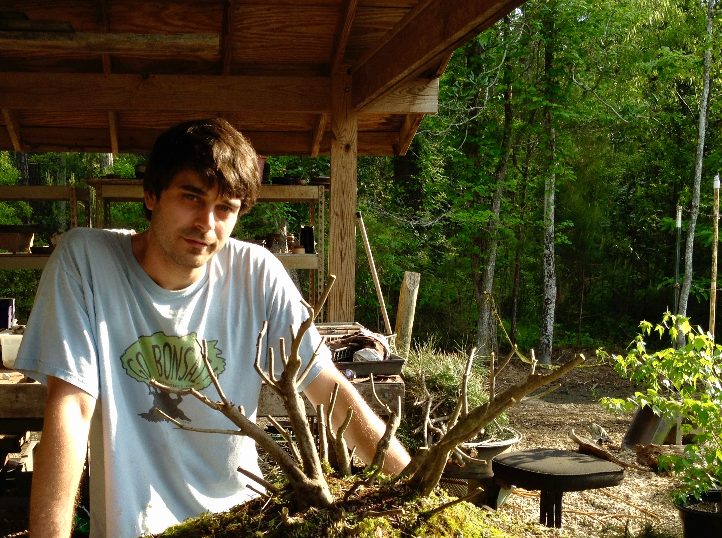2012, James and his urban Yamadori Azalea in Covington, Louisiana. Azalea collected in Folsom, Louisiana in 2006. Azalea Now lives in New Orleans, with cousin Blake.