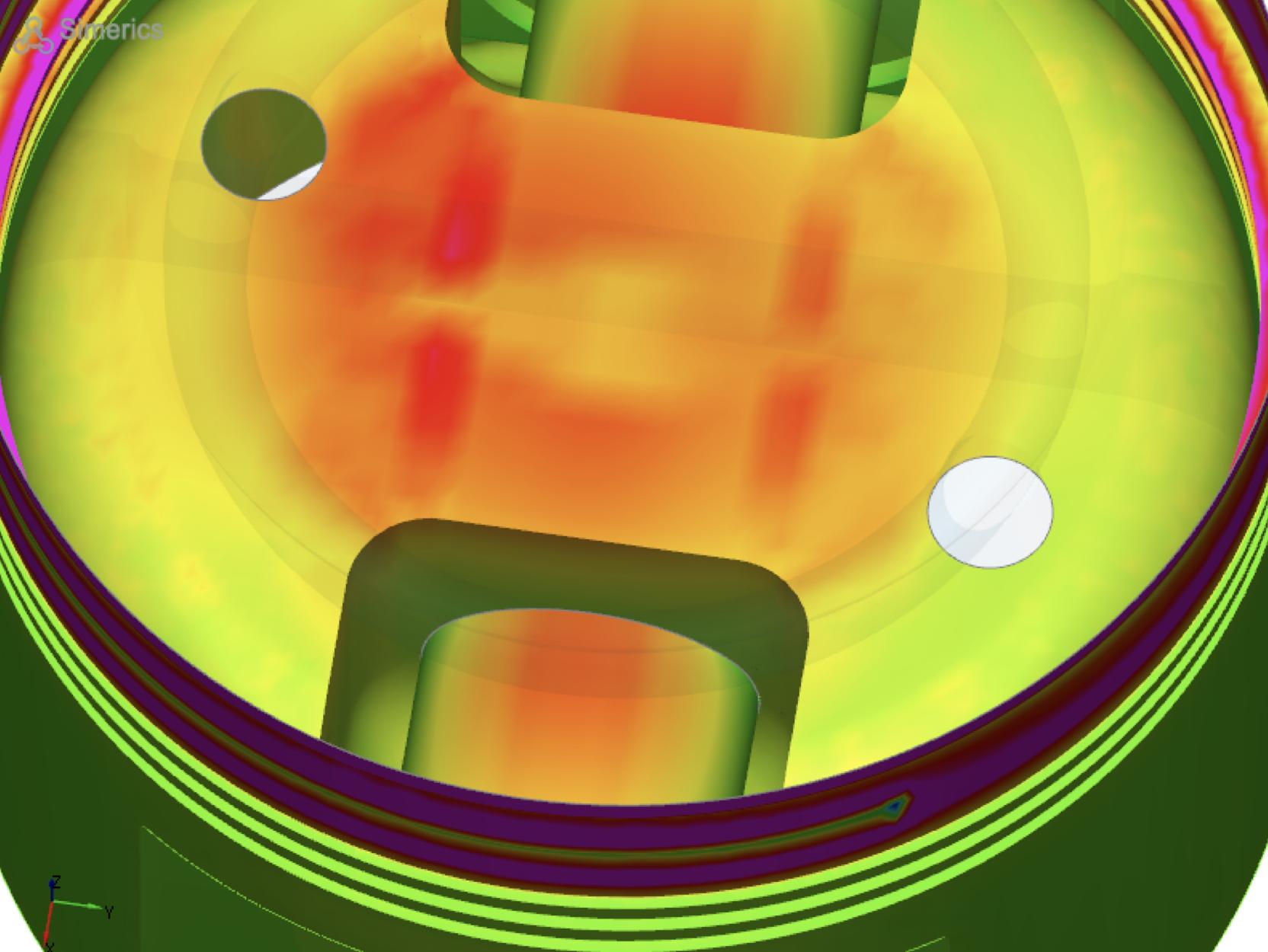 """- Nello studio della termica motore, Simerics Inc ha sviluppato una metodologia per modellare il processo di raffreddamento di un pistone.Questa metodologia comprende un'analisi multifase (aria ed olio) con trasferimento di calore. L'approccio è basato su due modelli numerici:- Analisi transitoria termo-fluidodinamica multifase del dominio fluido comprendente ugello, cilindro, galleria e trafilamenti del pistone.- Analisi stazionaria del solido del pistoneL'accoppiamento tra le due calcoli è implementato tramite una procedura di """"mappatura"""" che esporta sia le temperature locali sia i coefficienti di scambio termico sul pistone e sulle pareti della galleria.La ragione principale per cui viene adottata questa metodologia ciclica, sta nella differente scala temporale tra l'analisi fluidodinamica del liquido di raffreddamento e quella termica nel solido. Si può stimare, infatti che per raggiungere la stabilità termica del pistone siano necessari più di mille giri motore (in media; il dato è funzione della geometria del pistone e delle condizioni di funzionamento del motore). L'analisi stazionaria è quindi utilizzata per lo studio termico del solido ed è accoppiata ad una simulazione transitoria, fluidodinamica che copre un ciclo del pistone.Sono necessari dai 10 ai 20 cicli per raggiungere la convergenza con questa metodologia.Una descrizione completa della metodologia è disponibile in formato pdf a questo link: PIstonCoolingExample.pdf"""