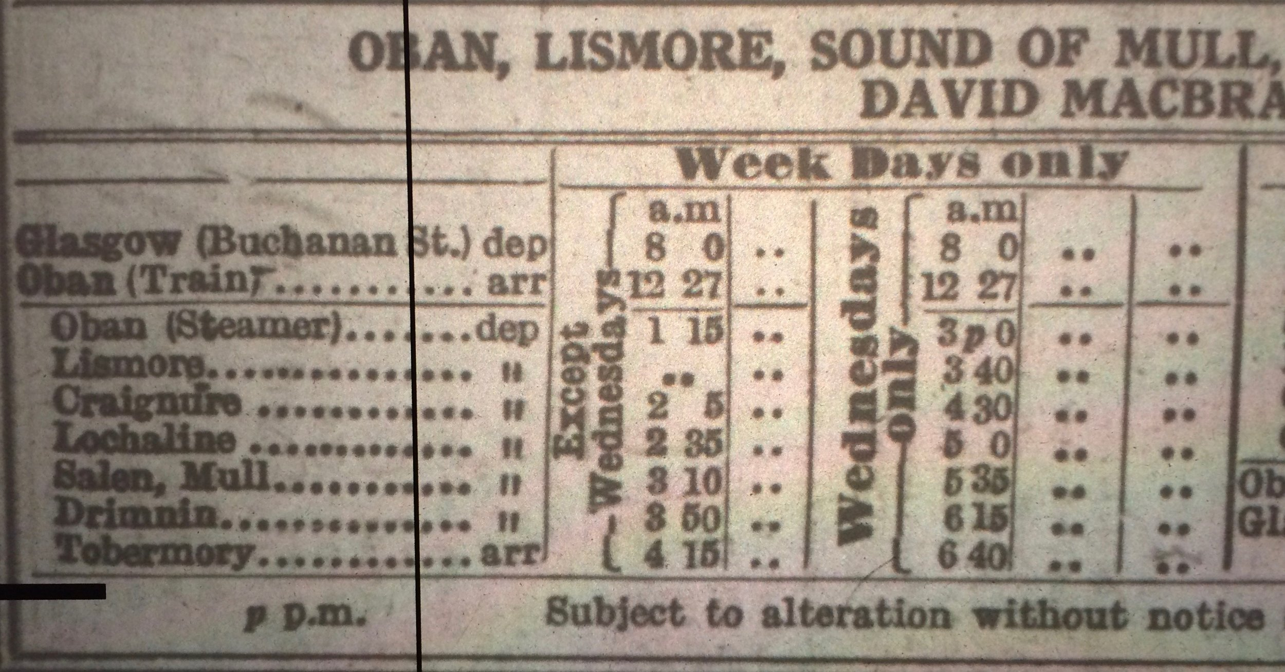 Oban steamer timetable, April 1952 (Oban to Tobermory)