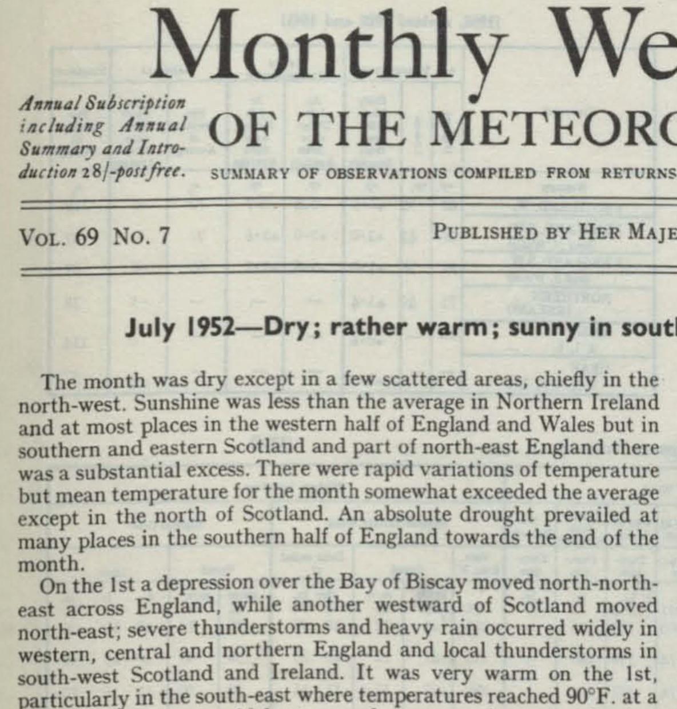 July 1952 weather summary