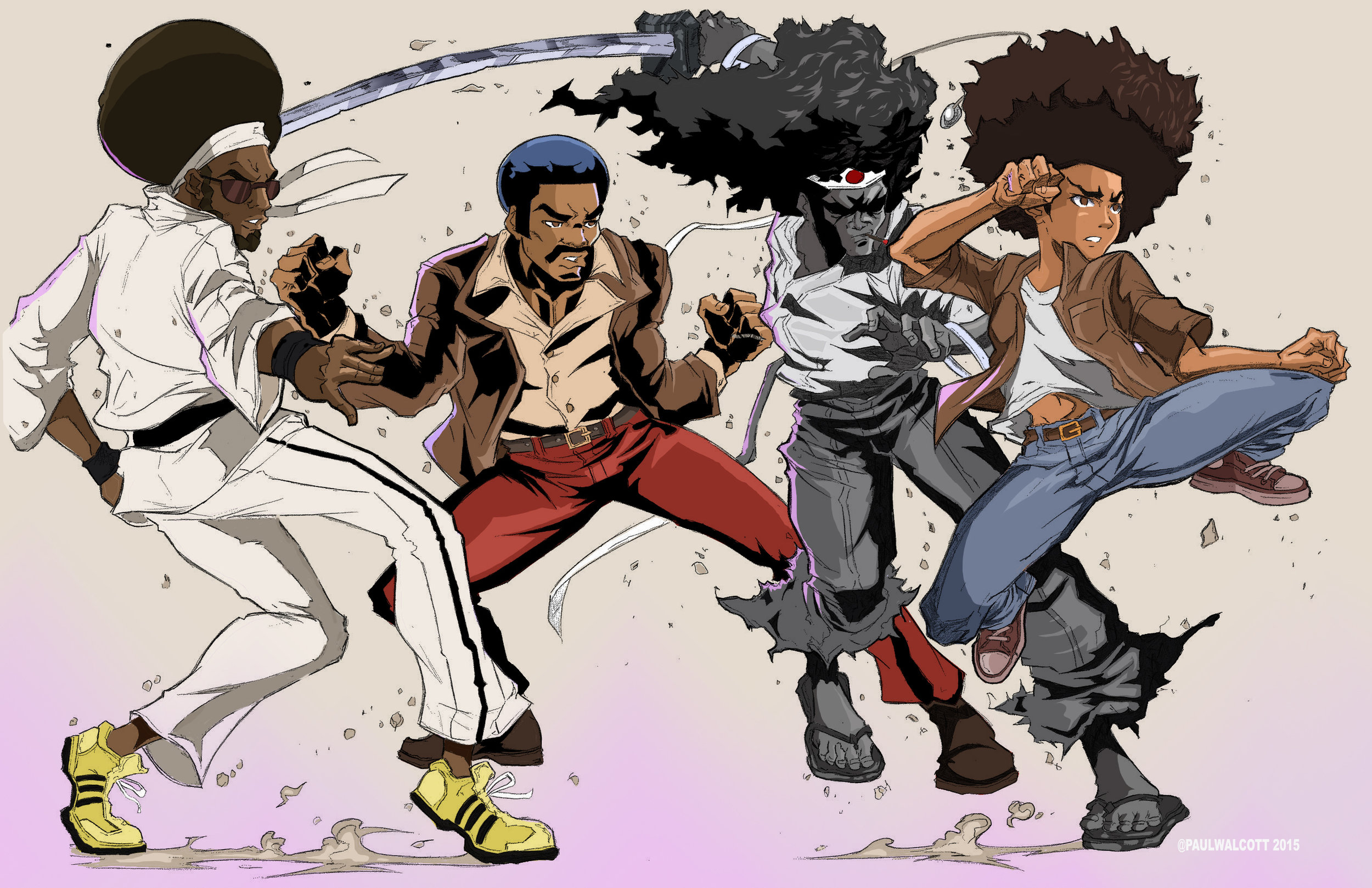 Four Brothers: (left to right) Bushido Brown, Black Dynamite, Afro Samurai, and Huey Freeman