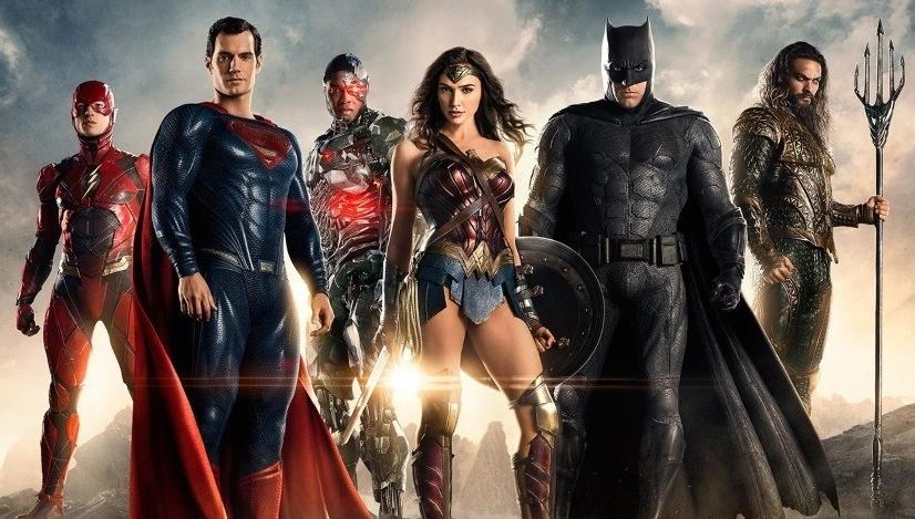 Justice League (Left to Right): Flash (Ezra Miller), Superman (Henry Cavill), Cyborg (Ray Fisher), Wonder Woman (Gal Godot), Batman (Ben Affleck), Aquaman (Jason Momoa)
