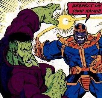 Thanos  besting  the Hulk