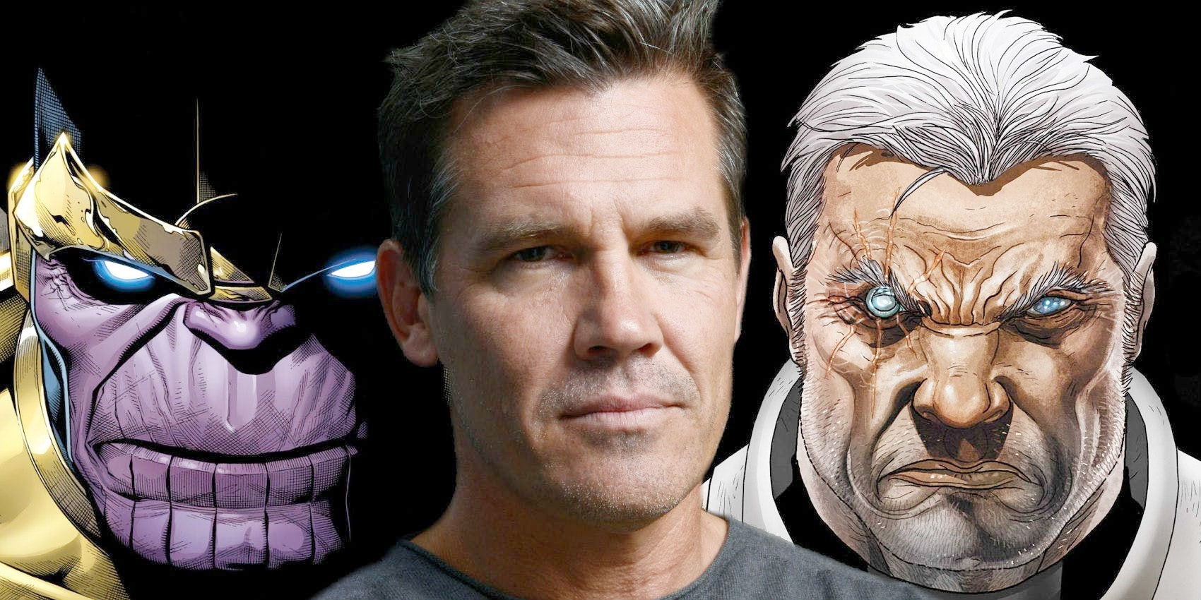 Josh Brolin (Center) played Thanos (Left) & Cable (Right)