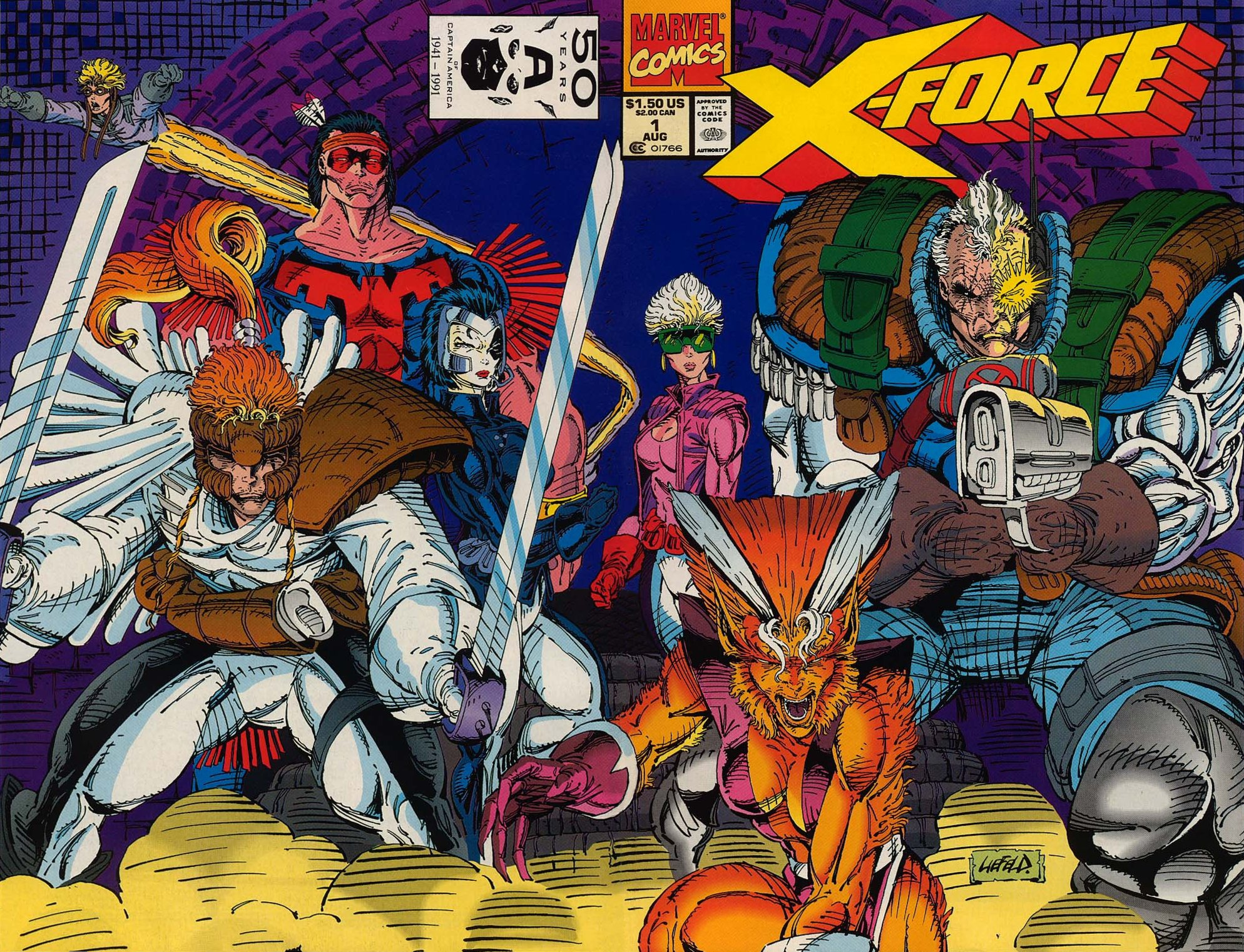 From L to R: Cannonball, Warpath, Domino, Shatterstar, Boom-Boom, Feral, and Cable.