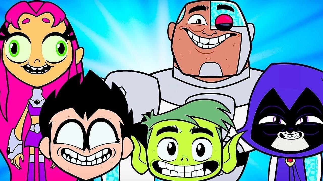 Teen Titans GO!: (L to R) Starfire, Robin, Beast Boy, Cyborg, & Raven