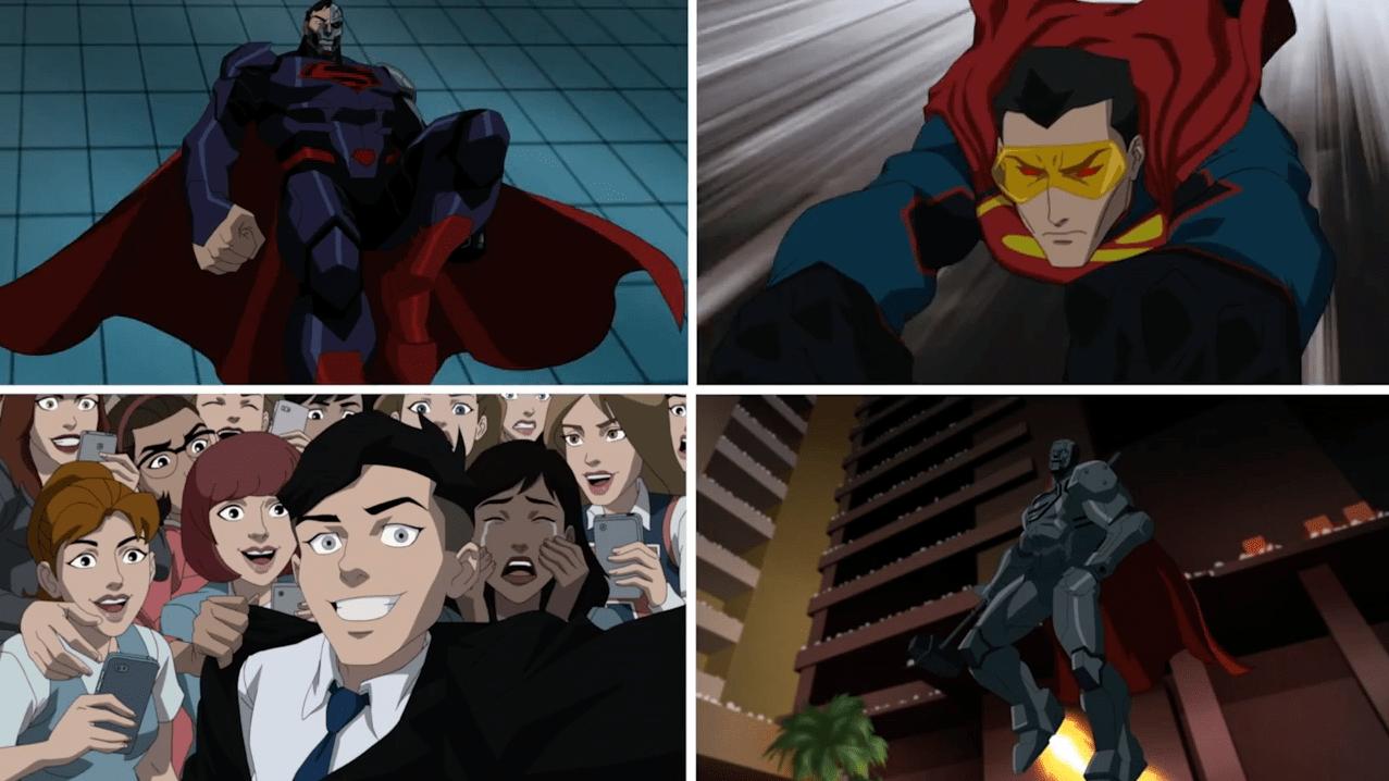 The Four Supermen: TL-Cyborg Superman, BL - Superboy, TR -Eradicator, BR - Steel.