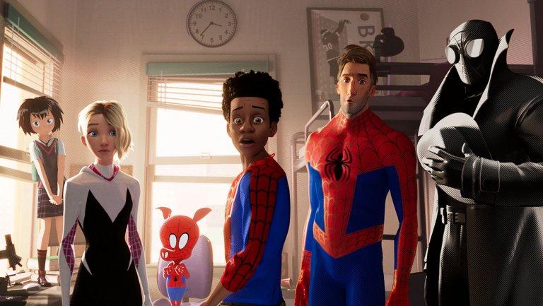 Spider-Clan (L to R): Peni Parker, Gwen Stacy, Peter Porker, Miles Morales, Peter B. Parker, Spider-Noir