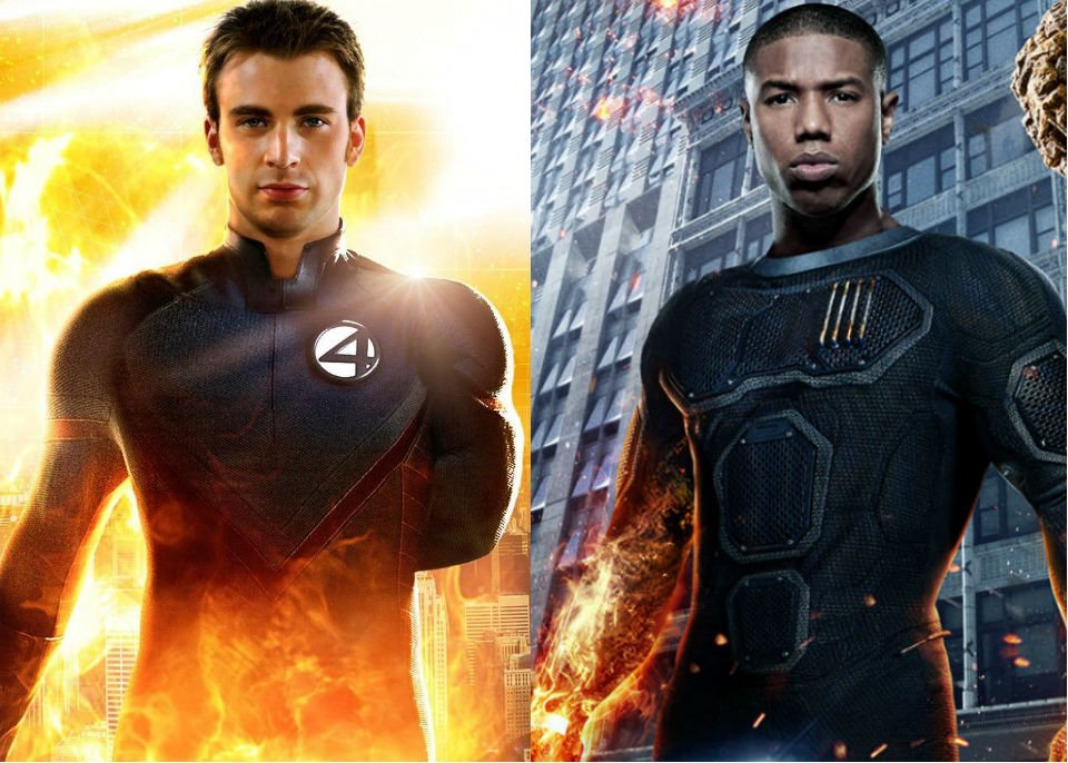 Tale of Two Storms:  Chris Evans  - pictured left & Michael B. Jordan -pictured right