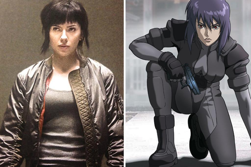 Scarlett Johansson (L) plays Motoko Kusanagi (R)