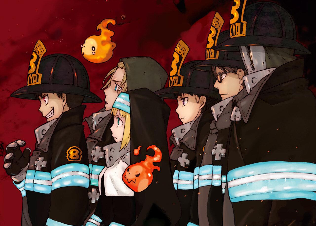 Fire Force (L to R): Shinra Kusakabe, Arthur Boyle, Iris, Maki Oze, Takehisa Hinawa, Akitaru Obi
