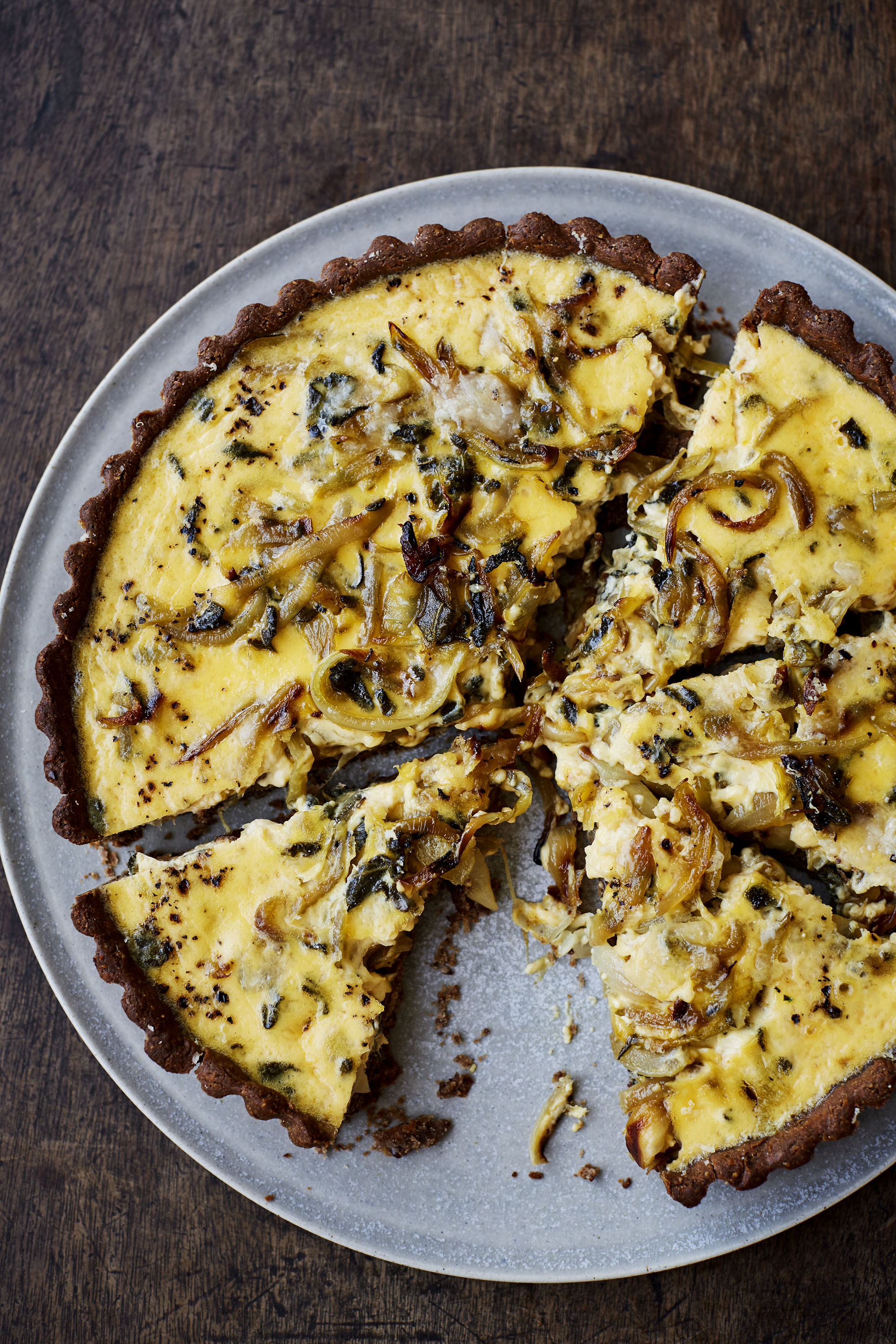 sage & onion quiche with a chestnut crust   caramelised onions and chestnut flour pair beautifully in this creamy quiche with a gluten free crust.  Photo © Laura Edwards