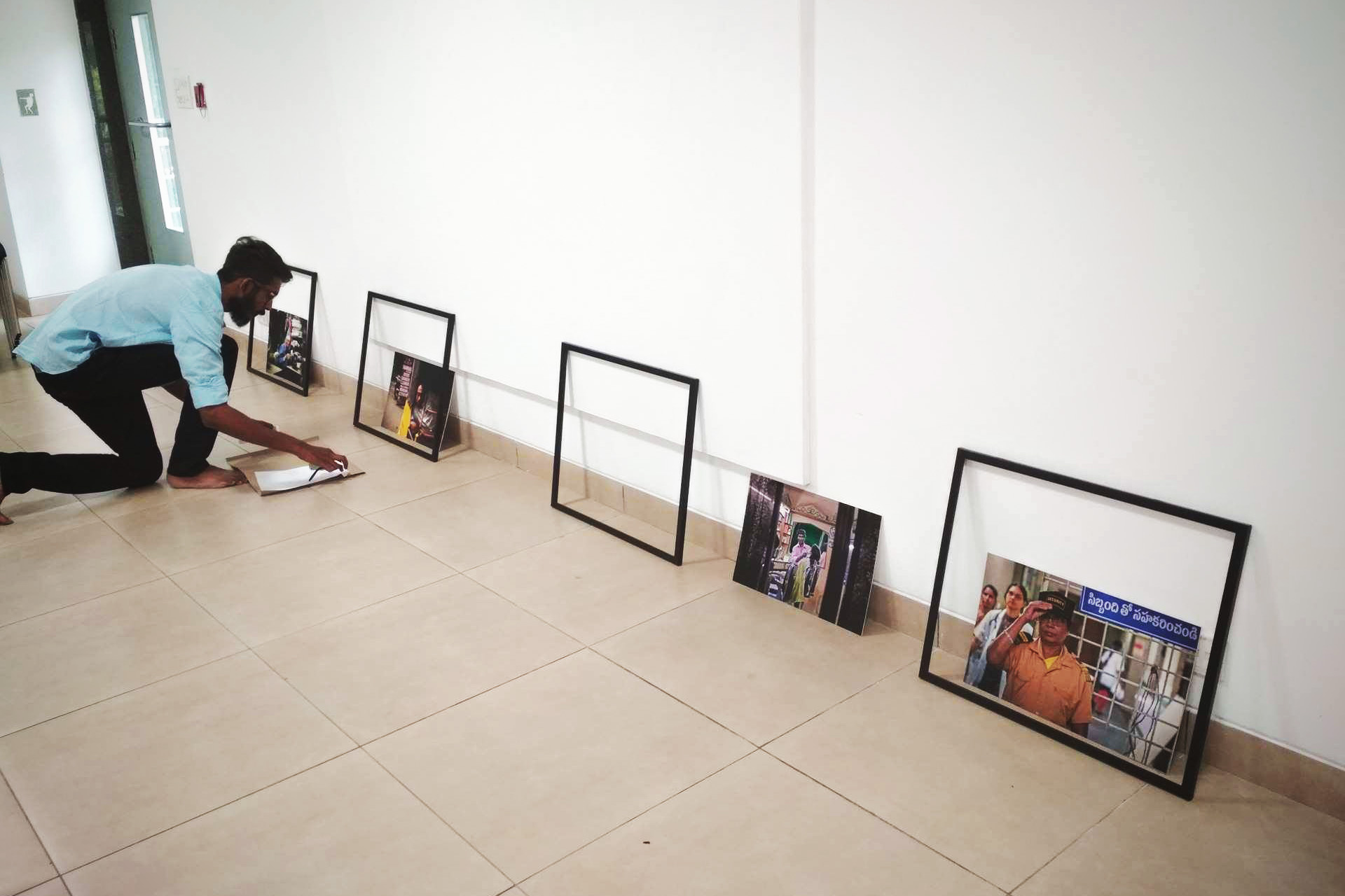 Venky setting up the frames on Monday.