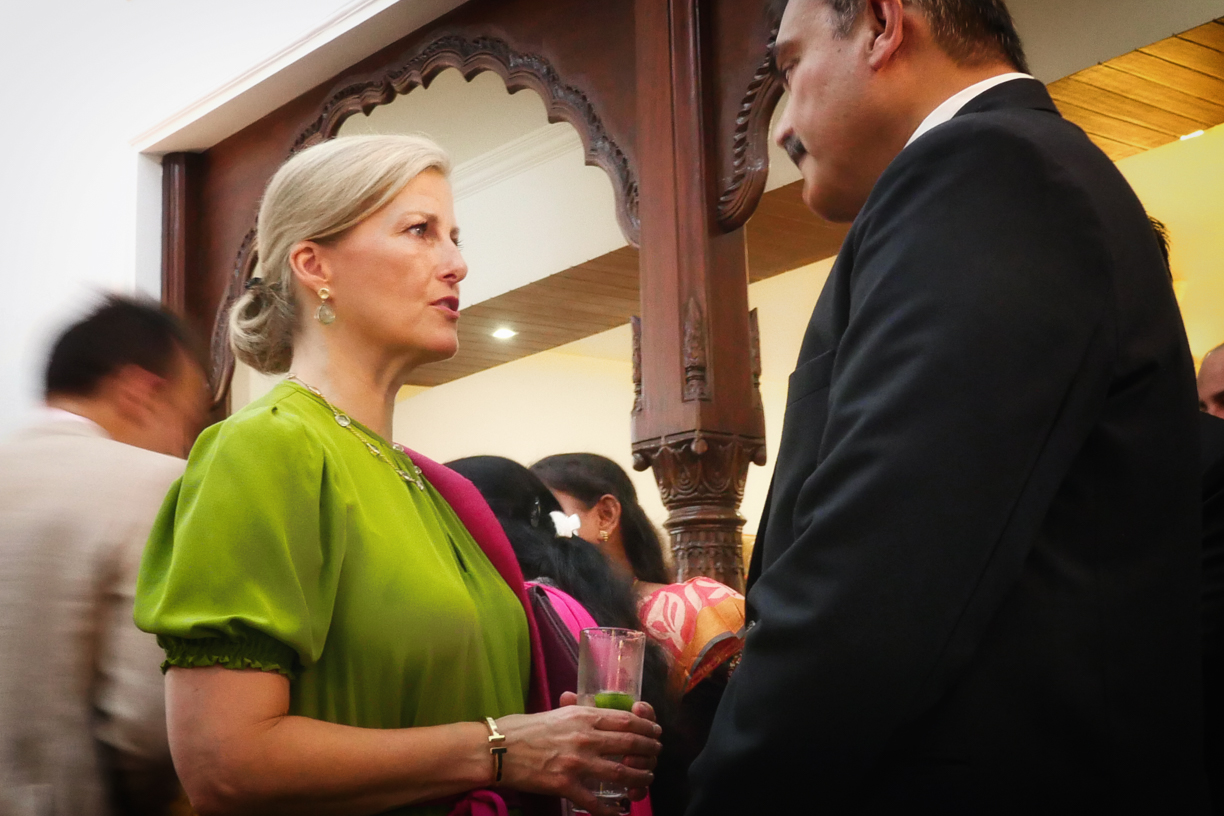 HRH The Countess of Wessex in conversation with Anjani Kumar - Hyderabad's Commissioner of Police.