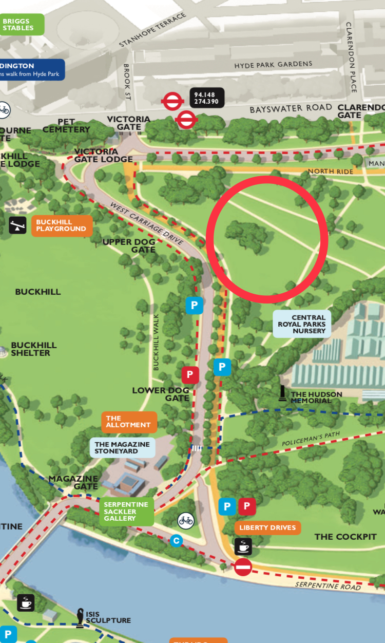 Directions  :enter Hyde Park from Victoria Gate, Bayswater Road junction with  West Carriage Drive , walk/drive along West Carriage Drive and once you approach Upper Dog Gate on your right enter into the green space to your left (circled Red in map above.) Cars can be parked on West Carriage Drive near Lower Dog Gate.