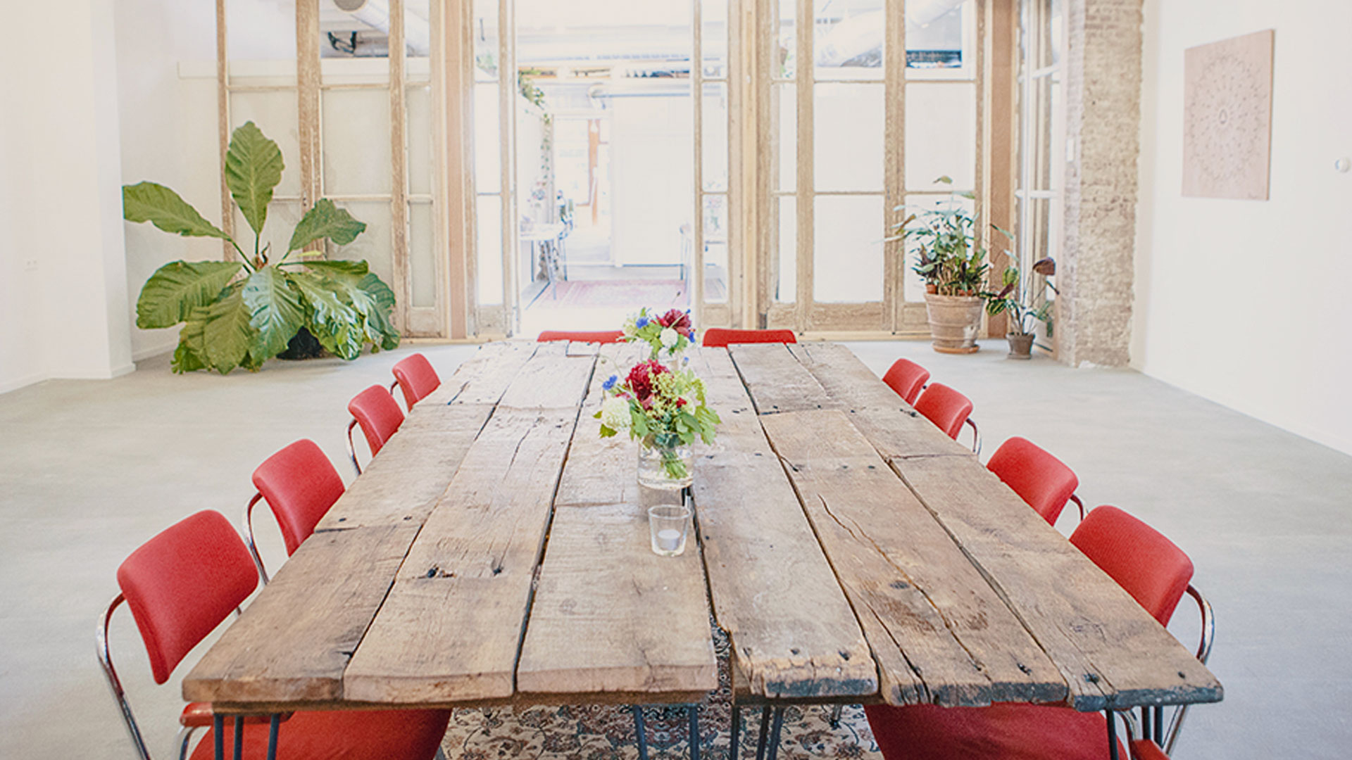 We made our own tables from 300 year old oak floor boards from the famous Wester Tower. -