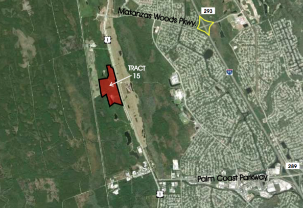 Tract 15 - 102+/- Net Acres  Approved for 600,000sf Retail Commercial$5,000,000Development opportunity within 5 minutes of I-95! Perfectly situated less than 10 minutes from the golden sands of Flagler Beach and its ever-expanding offering of river and ocean viewrestaurants, this is the last treasure along the Flagler and Volusia Coast. A dozen golf courses are within 15 minutes of Town Center and for the boater, there are numerous marinas and theIntracoastal Waterway just over a mile away. Led by the oceanfront resorts of Hammock Dunes and golf communities such as Grand Haven, Palm Coast enjoyed explosive growth throughoutthe 1990s and early 2000s and now exceeds 100,000 in population.