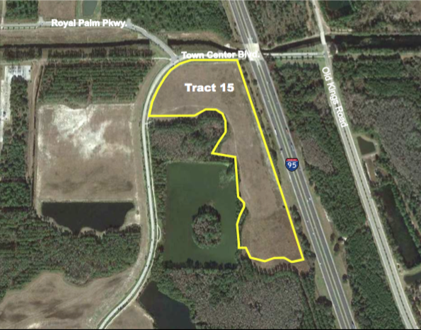 Tract 15 - 22.4 +/- Net Acres  Approved for Office and Retail$3,900,000Development opportunity within 5 minutes of I-95! Perfectly situated less than 10 minutes from the golden sands of Flagler Beach and its ever-expanding offering of river and ocean viewrestaurants, this is the last treasure along the Flagler and Volusia Coast. A dozen golf courses are within 15 minutes of Town Center and for the boater, there are numerous marinas and theIntracoastal Waterway just over a mile away. Led by the oceanfront resorts of Hammock Dunes and golf communities such as Grand Haven, Palm Coast enjoyed explosive growth throughoutthe 1990s and early 2000s and now exceeds 100,000 in population.
