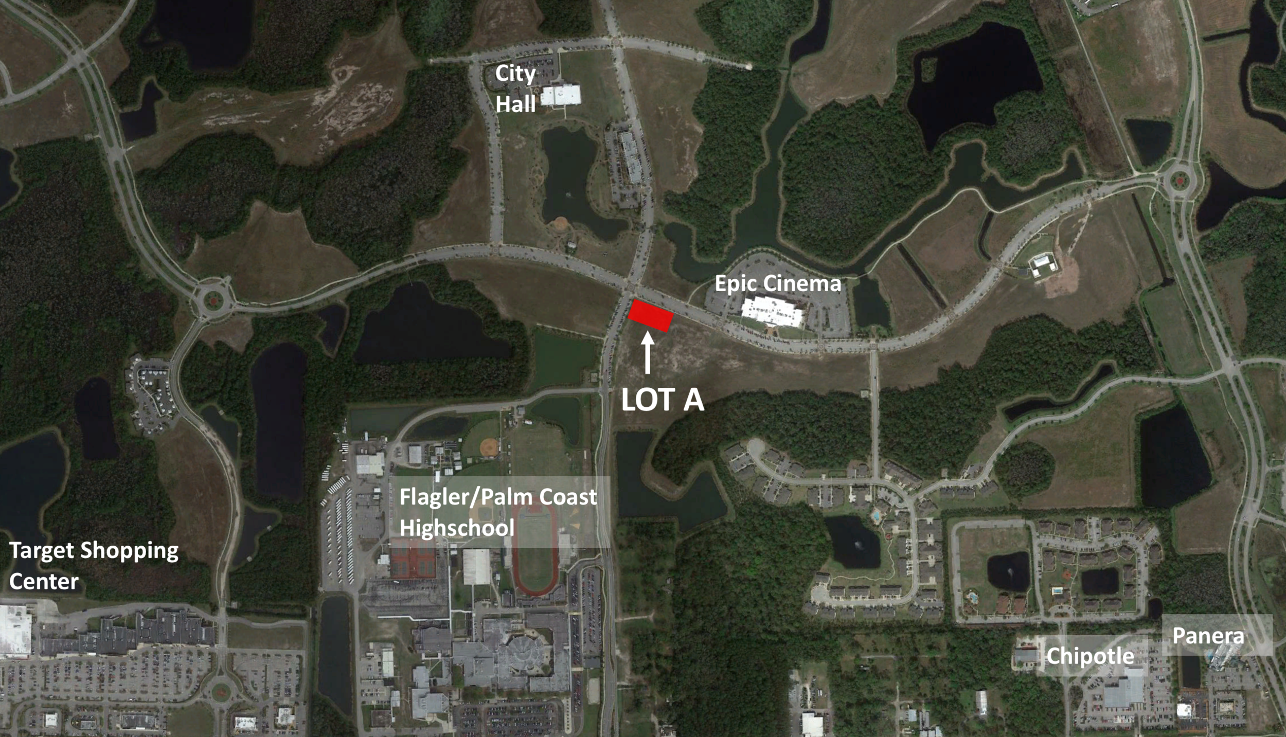 Lot A (Phase 2) - Size: 2.9+/- Net AcresZoning: Commercial Price: $900,000-Commercial corner available in the heart of Town Center.-86 unit multi-family development planned on adjacent parcel-Over 2,400 students enrolled at neighboring Flagler Palm Coast High School