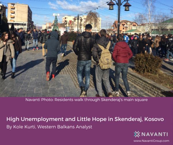 Residents Walk through Skenderaj's Main Square