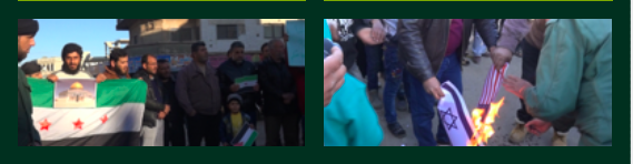 Demonstrations in southern Syria against President Trump's decision to formally recognize Jerusalem as Israel's capital. Source: SY.37, media activist, Dara'a province