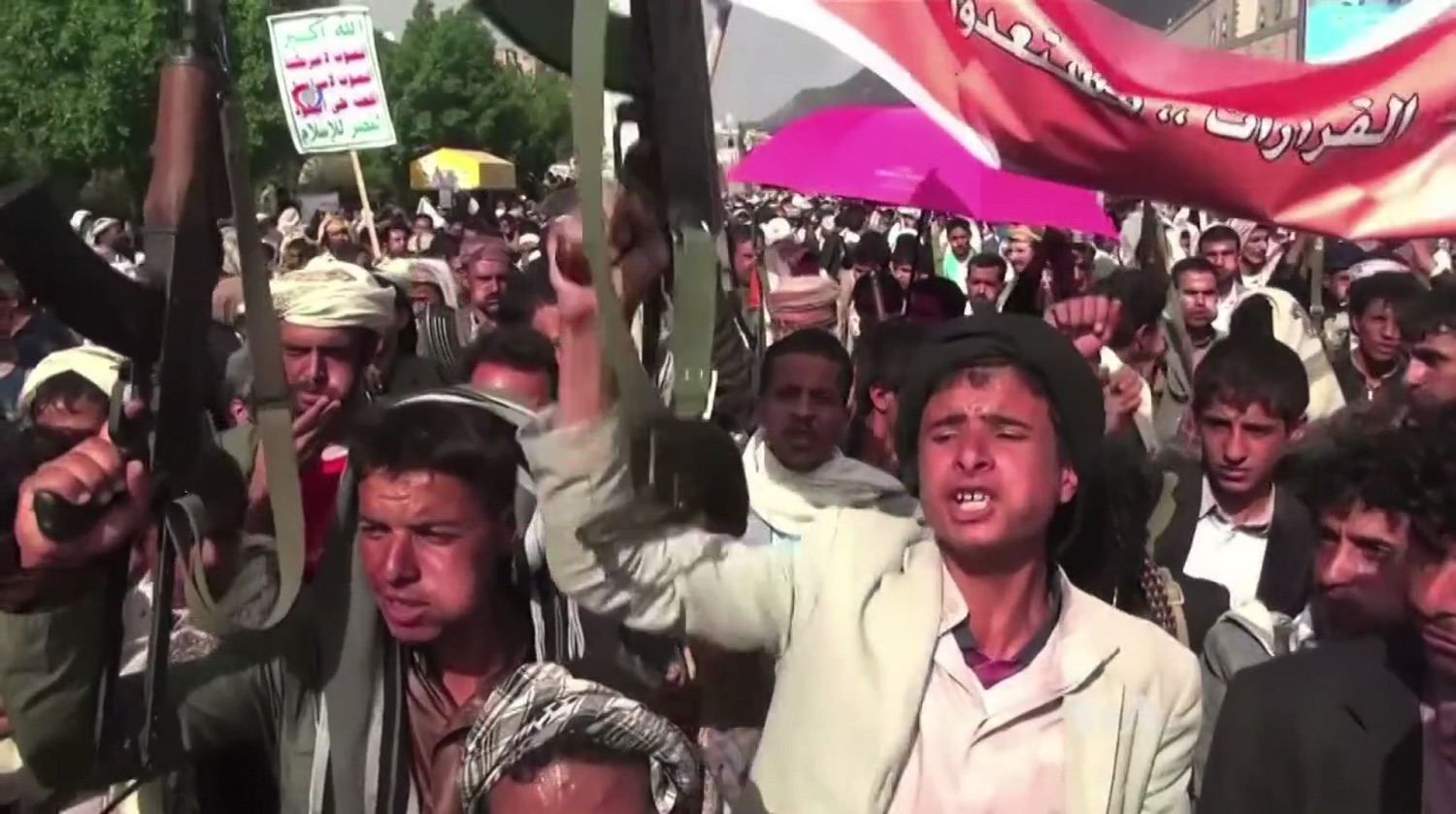 Houthi forces protest Arab-led Coalition airstrikes. Source: Wikimedia Commons
