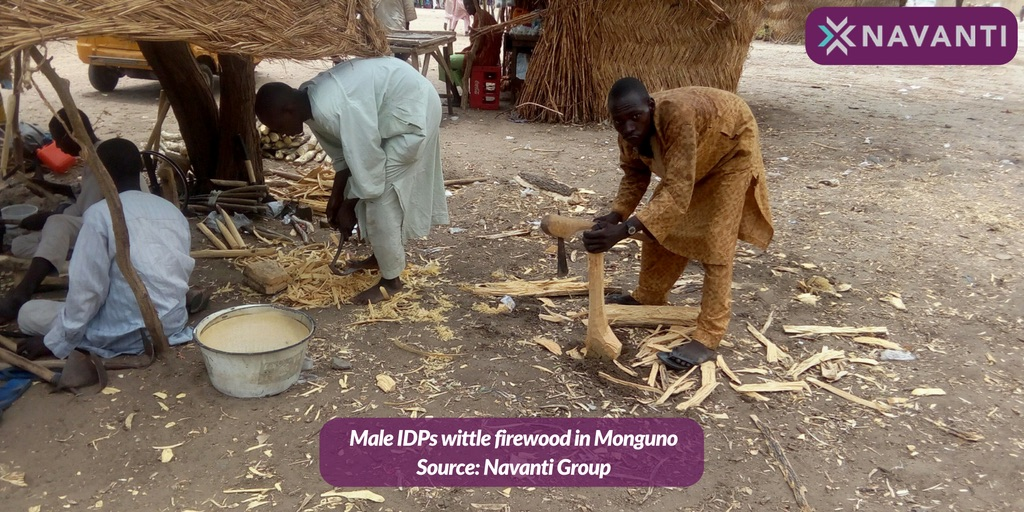 Men Wittle Firewood in Monguno